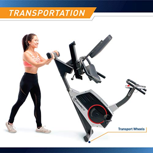 Product Image 7: Marcy Regenerating Recumbent Exercise Bike with Adjustable Seat, Pulse Monitor and Transport Wheels ME-706