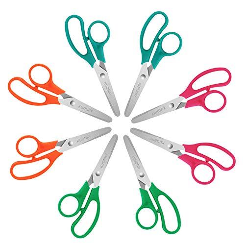 KUONIIY Kinderschere mit Edelstahl Klinge und Kunststoff Griff, Abgerundete Spitze, 8er Pack mit 4 Farben (Gelb, Rot, Grün, Blau)