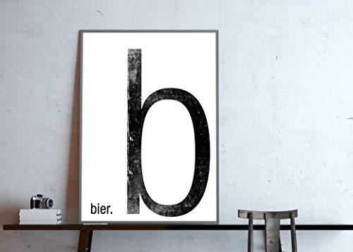 schwarz-wei/ß individualisierbar mit Deinem Wunsch-Wort Typo Poster Monogram Buchstabe b wie Bier