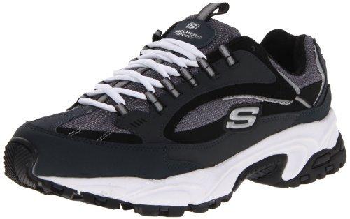 Skechers Men's Stamina-Nuovo lace up sneaker, Navy/Black, 9 2E US