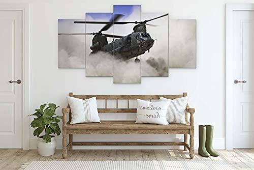 45Tdfc Cuadro Moderno en Lienzo,Conjunto de 5 Piezas para Salon Decoración 80x150cm Helicóptero Chinook Sky Arte Pared Fotos Cuadros En Lienzo Lonas De Imprimir Modern Artwork