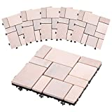 ぼん家具 ジョイントタイル 屋外 6枚セット 石畳風 29.5×29.5cm ミックスライトピンクA