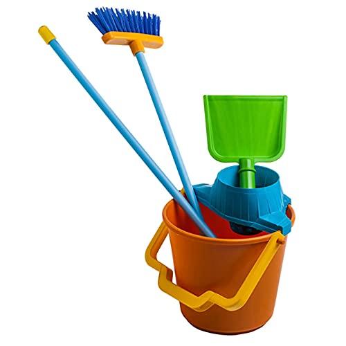 Kit de limpieza de plástico, con 4 utensilios, de juguete para niños y niñas de color surtido, Set de 4 unidades de juguete con colores divertidos de 60 x 23 x 23 cm. Juego de imitación para niños