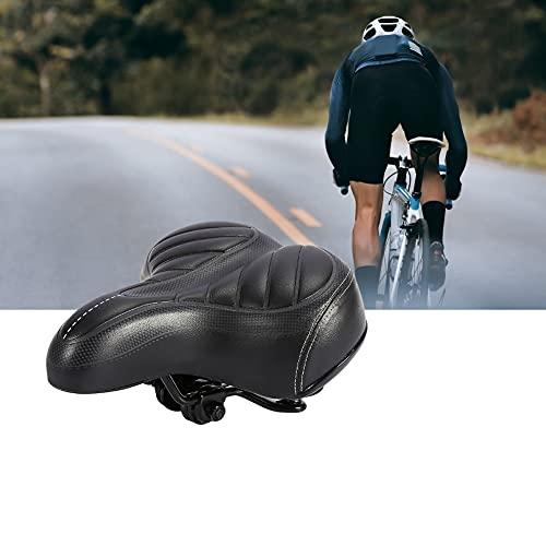 Sillín de bicicleta, 25x20cm Negro Comfort Wide Big Bum Sporty Soft Pad Sillín de cuero de PU Sillín de bicicleta Asiento de bicicleta para bicicleta de montaña Bicicleta de carretera Bicicleta de int