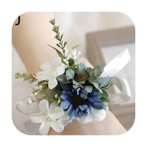 Art Flower Silk Roses Wrist Corsage Bracelets Wedding Boutonnieres Bridesmaid Groom White Blue Hand Flowers Marriage Prom Accessories-J-