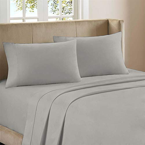 Pure Organic Cotton Grey Percale Bed Sheet Set, 3 Piece Twin Size Sheets, Moisture Wicking, Lightweight, Crisp Cool, Highly Breathable & Durable, Fits Upto 16' Deep Pocket by Purity Home