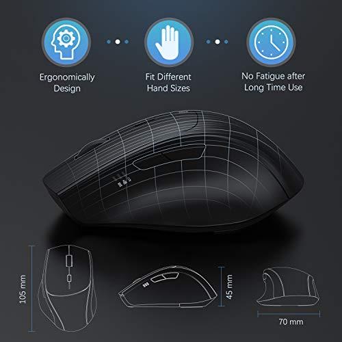 Jelly Comb Maus Kabellos, 2.4G & Typ C Wireless Maus Dual-Modus, Kabellose Maus Silent Ergonomische Funkmaus, 7 Tasten Maus mit USB A/USB C Empfänger für PC/Laptop/Tablet und Windows/Mac (Schwarz)