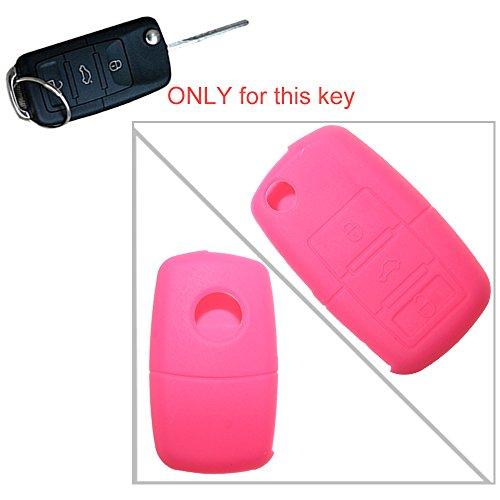 tuqiang® 1pc rose 3 touches clé plip coque clé clés silicone Key Case Cover Clés de Voiture for VW Golf Polo TOURAN PASSAT