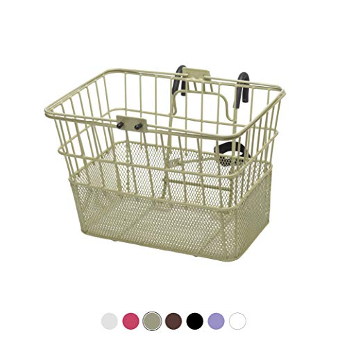 Find Bargain Retrospec Detachable Steel Half-Mesh Apollo Lift-Off Bike Basket with Handles, Moss Gre...