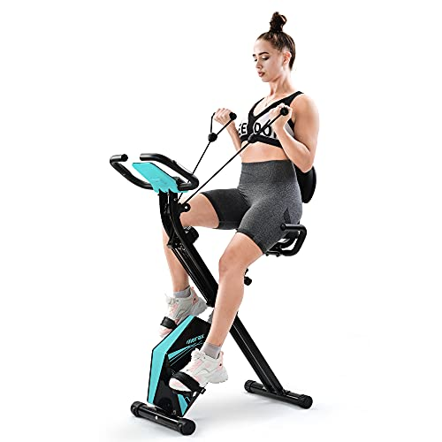 Belissy Bicicleta estática, plegable, dispositivo de entrenamiento cardio, 110 kg, plegable, 8 niveles de resistencia, con sensores de pulso y ordenador de entrenamiento (azul)