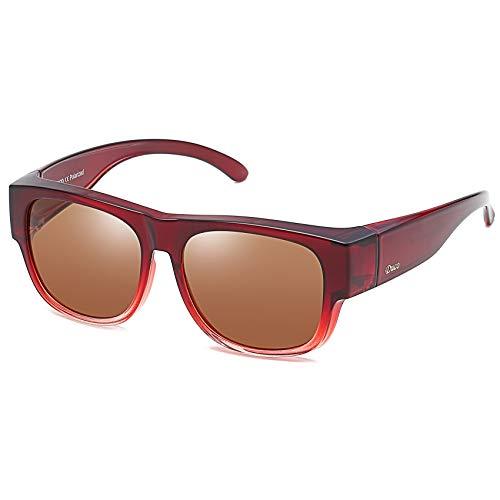 DUCO Unisex polarisierte Sonnenbrillen Überziehbrille Fit-Over Brille Korrekturbrille RX Brille 8956 (Weinrot 8958)