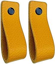 Brute Strength - Leren Handgrepen - Okergeel - 2 stuks - 16,5 x 2,5 cm - incl. 3 kleuren schroeven per leren handvat voor ...