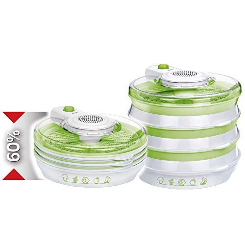 MPM MSG-06 Deshidratador de Alimentos Plegable, 6 Bandejas de 30 cm, 2 Niveles de Potencia, Frutas, Setas y Verduras, 400W, 400 W, 6 Ranuras, Blanco verde