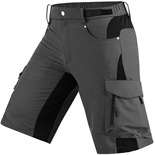 Cycorld Wanderhose Herren Kurz Trekking Shorts, Outdoor Shorts Schnell Trocknend Hiking Shorts Herren mit 6 Taschen, Herren Wandern-Trekking-Radfahren-Camping Hose Kurz (Grau, L)