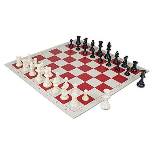 AIflyMi Juego de ajedrez Plegable de Vinilo de Torneo de 20 '' x 20 '' con Piezas de plástico sólido, Ideal para Jugadores de ajedrez Profesionales