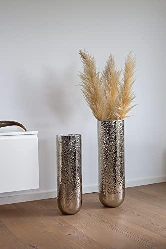 samui | Art Deko Vase Phoenix Silber - Moderne, handgefertigte Designer Bodenvase optimal für Pampasgras, aus Metall, Dekovase, Wohnzimmer