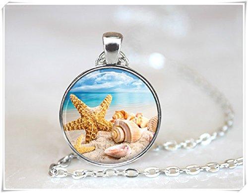 Beautiful Dandelion Hermoso Colgante de Diente de León con Conchas de Mar