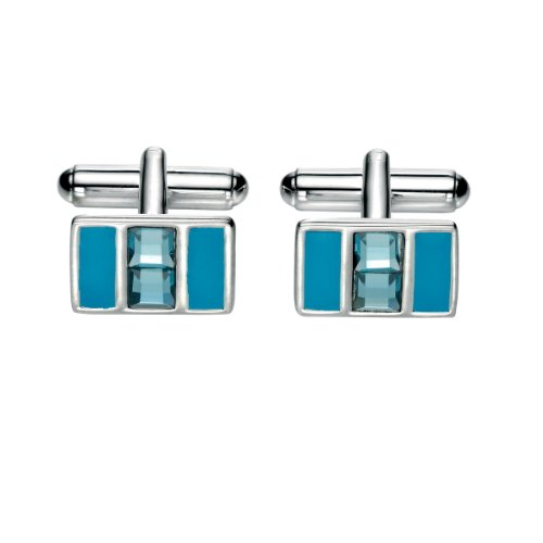 Émail bleu et Swarovski Crystal Cufflinks