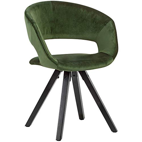 FineBuy Esszimmerstuhl Grün mit schwarzen Beinen Modern | Küchenstuhl mit Lehne | Stuhl mit Holzfüßen | Polsterstuhl Maximalbelastbarkeit 110 kg