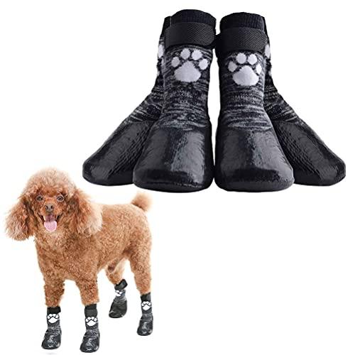 HOMIMP Hundesocken mit Anti-Rutsch, mit Riemen, wasserdichter Pfotenschutz