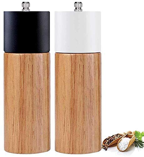 Salt and Pepper Grinder Set With Black and White Tall Salt and Pepper Shakers with Adjustable Coarseness Salt Grinders and Pepper Mill Shaker Set