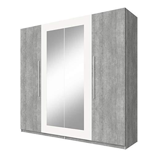 Drehtürenschrank mit Spiegel Vera, Modernes Garderobe, 228 x 214 x 58 cm, Elegantes Kleiderschrank, 4-türig Schlafzimmerschrank, Schlafzimmer, (Colorado Beton/Colorado Beton + Weiß)