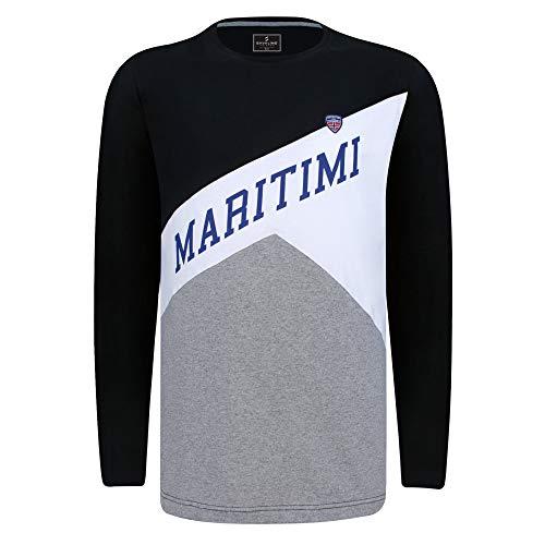 SAVALINO Men's Long Sleeve Sailing Rugby T-Shirt Round Neck, Cotton Sports Wear Black