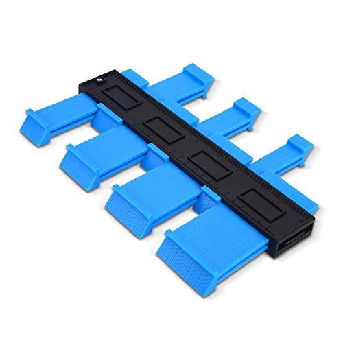 FORMIZON Medidor de Contornos, 25cm Herramienta de Medición de Perfil Irregular, Medidor de Duplicador de Contorno Suelo para Azulejos Edge Shaping Madera Medida & Azulejos laminados (Azul)