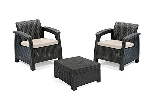 Keter Corfu 2 Seater Balcony Garden Outdoor Rattan Furniture Set - Graphite with Cream Cushions