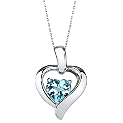 Sterling Silver Heart in Heart Pendant In Blue-Topaz Colored Stone