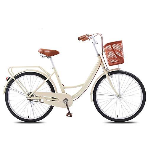 GOLDGOD Velocidad Única City Bicicleta Clásico 20 Pulgadas Señoras Absorción De Impacto Bicicletas De Crucero con Freno De Disco Doble Ultraligero Portátil Bicicleta De Ciudad para Altura 120-145cm