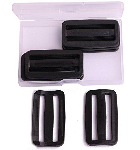 Shapenty 2 Inch Black Plastic Tri-Glide Slides Button Adjustable Webbing Triglides Slider Buckle for Belt Backpack and Bags, 8PCS