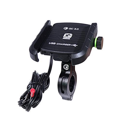 YGL Universale Alluminio Porta Cellulare Motocon con Porta di Ricarica USB, 360 °Regolabile Compatibile da 3,5-6 Pollici Telefono Moto Supporto Smartphone per Scooter Moto Bicicletta(Nero)