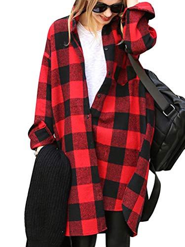 ORANDESIGNE Rot Schwarz Kariertes Schottenkaro Einreiher Oversize Beiläufig Lange Bluse Outfit Oberteile Damen Mode C Rot L