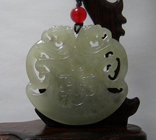 JL 4,8 cm Chine Certifié Nature Hetian Jade néphrite Double Dragon Amulette Creux Carvd Collier Pendentifs