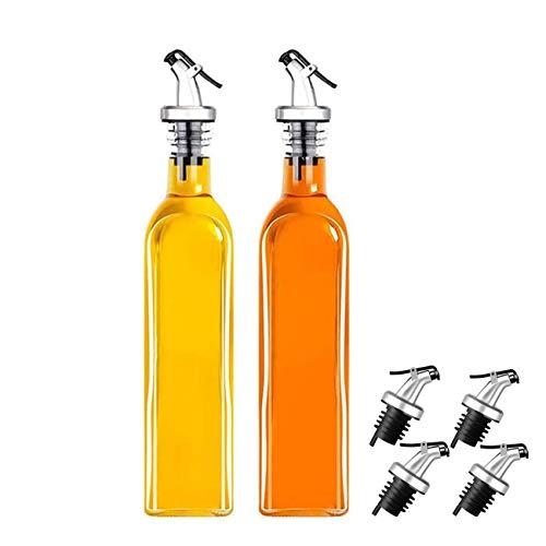 Dispensador De Botellas De Aceite De 2 Piezas Con 4 Tapones De Aceite De Oliva, Vino, Vinagre, Salsa De Soja, Botellas De Tetina A Prueba De Fugas, Botellas De Aceite De Cocina Para El Hogar