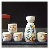 5 unids/Set Japanese Ceramic Ceramic Cat Sake Botella de Vino Creative Maneki Neko Hip Frasco Flagón Liquor Espíritu Copa de Vino Tabho (Color : E)