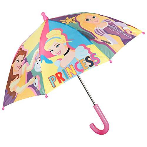 Disney Księżniczki Manualny Długi Parasol dla Dziewczynek w Wieku 3 4 5 Lat - Wiatroodporna Solidna Parasolka Księżniczka Kopciuszek Roszpunka Belle Ariel - Średnica 66 cm - Perletti (Wielokolorowy)