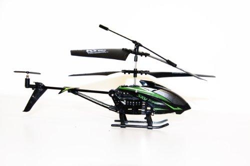 Flying Gadgets - Elicottero radiotelecomandato con giroscopio, 3,5 canali, per Uso in Interni ed Esterni, Colore: Verde/Nero