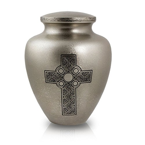 OneWorld Memorials Celtic Cross Bronze Cremation Urn - Extra Large - Holds Up to 240 Cubic Inches of Ashes - Silver Metal Urns for Ashes - Engraving Sold Separately