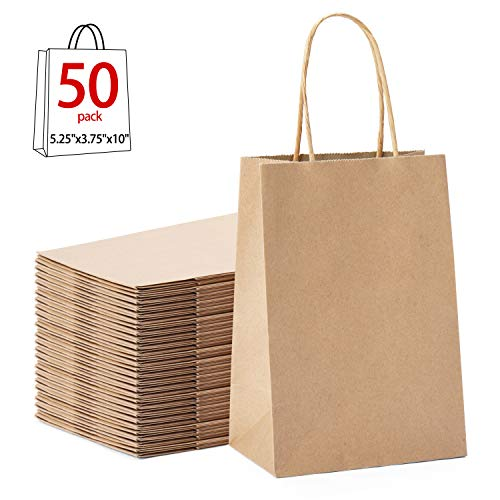 """GSSUSA 5.25""""x3.25""""x8"""" 50 Pcs Kraft Paper Bags, Shopping, Mechandise, Party, Gift Bags (Natural)"""