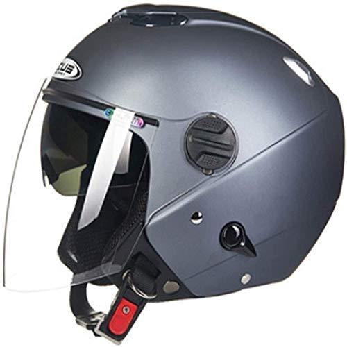 ZHXH Harley Motorradhelm, Erwachsene Männer und Frauen Four Seasons Universal Double Lens 3/4 Motorradhelm mit offenem Gesicht/Punkt genehmigt,