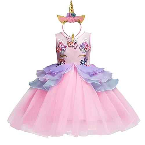 FMYFWY Vestido de Unicornio de Niña Tutú Princesa Cumpleaños Sin Mangas Disfraz de Carnaval Halloween Traje de Cosplay Navidad Bautizo Comunión Boda Fiesta para Chicas con Diadema 2-10 años