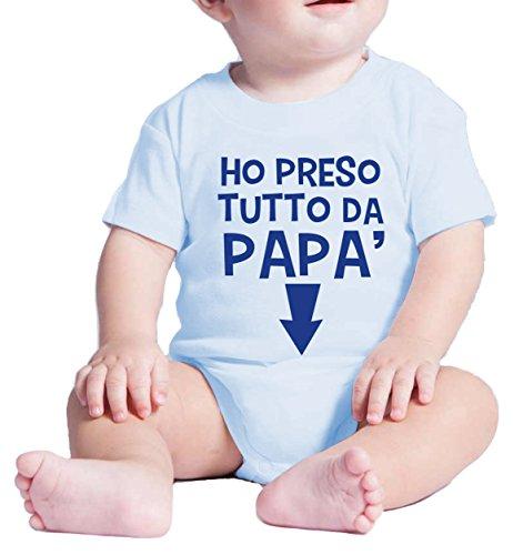 Fermento Italia Body Neonato Divertente Ho PRESO Tutto da Papa' - Pagliaccetto umoristico 100% Cotone JHK (3 Mesi Neonato, Celeste)