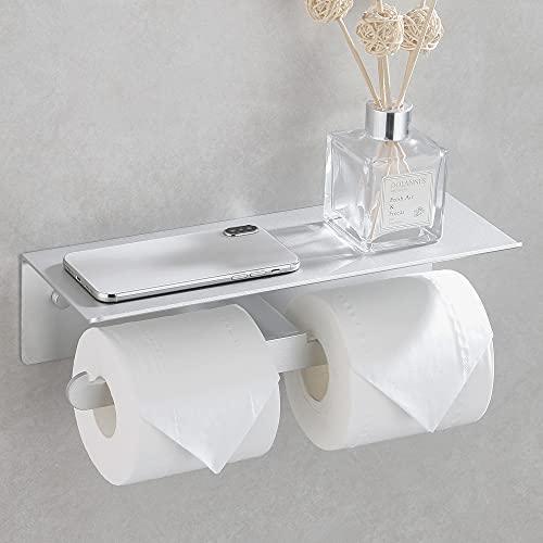 Wopeite Toilettenpapierhalter ohne Bohren Doppelter Klopapierhalter Papierhalter mit Ablage Papier Halterung für WC Badezimmer Toilette Aluminium Selbstklebend Matte Silber