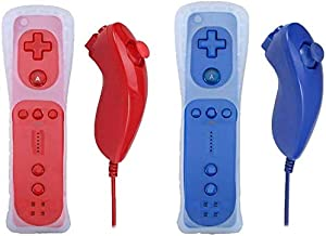 Sponsored Ad - Poulep Gesture Controller and Nunchuck Joystick with Silicone Case for Wii Wii U Console (Red and Deep Blue) photo