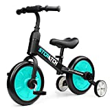Fascol 3 en 1 Bicicleta de Equilibrio para 1-6 Años Niños, Triciclo para Bebes con Pedales Desmontables y Ruedas Auxiliares, Diseño de Asiento Elevador para Ajustar Alturas (Verde)