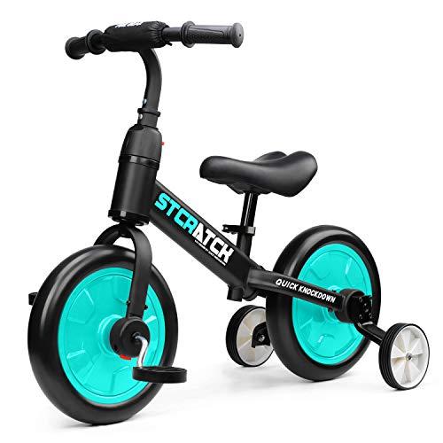 Fascol Draisienne 3 en 1, Tricycle pour l'équilibre d'apprentissage, Vélo sans Pédale avec Selle Réglable en Hauteur, Convient aux Enfants de 1 à 6 Ans, Vert