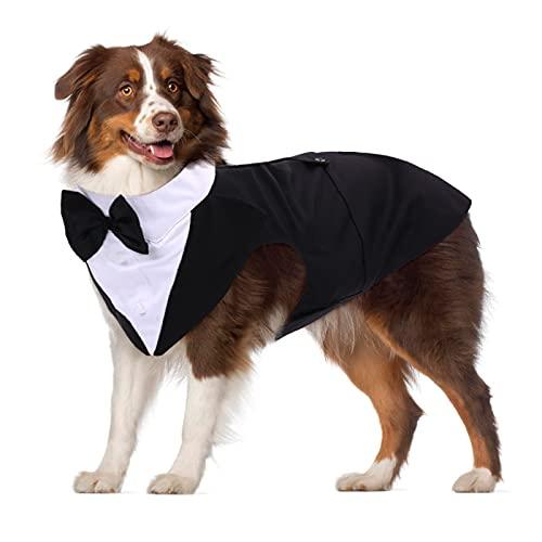 PUMYPOREITY Ropa para Perros Pajarita Esmoquin Traje Smoking Perro Mascota Boda Formal Traje Elegante con Bandana Retirable Camisa de Esmoquin Formal para Perros Pequeños Medianos Grandes(Negro,XXL)