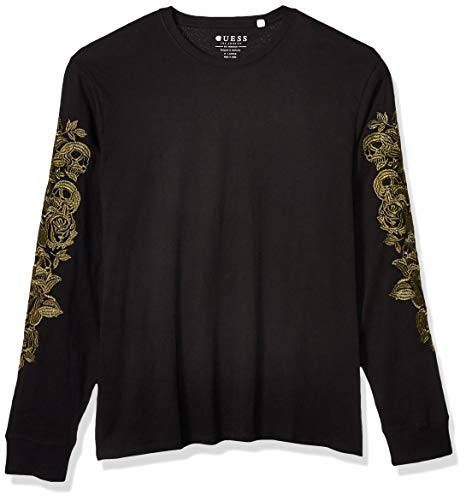 GUESS Men's Metallic Floral-Embroidered Tee